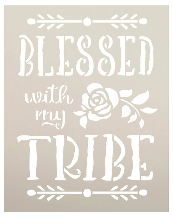 Blessed with My Tribe Stencil by StudioR12 | DIY Tribal Family Home Decor | Boho Flower Embellished Script Word Art | Craft & Paint Wood Signs | Reusable Mylar Template | Select Size