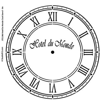 Hotel Du Monde Clock Stencil by StudioR12 | French Clock Face Art - Medium 10 x 10-inch Reusable Mylar Template | Painting, Chalk, Mixed Media | Use for Crafting, DIY Home Decor - STCL386