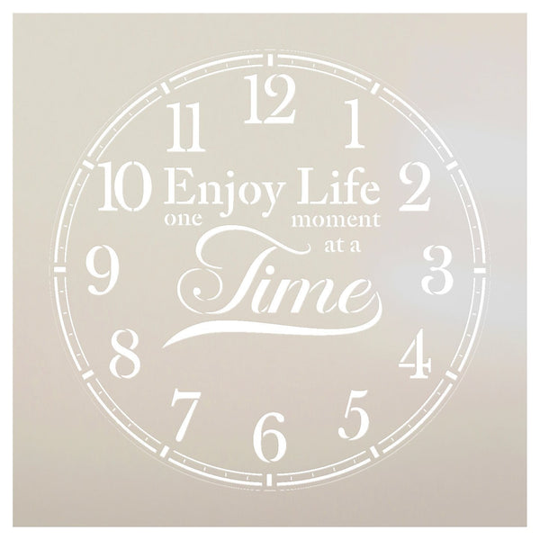 Round Clock Stencil - Enjoy Life One Moment at a Time Letters - Small to Extra Large DIY Painting Farmhouse Home Decor Art - Select Size | STCL2429