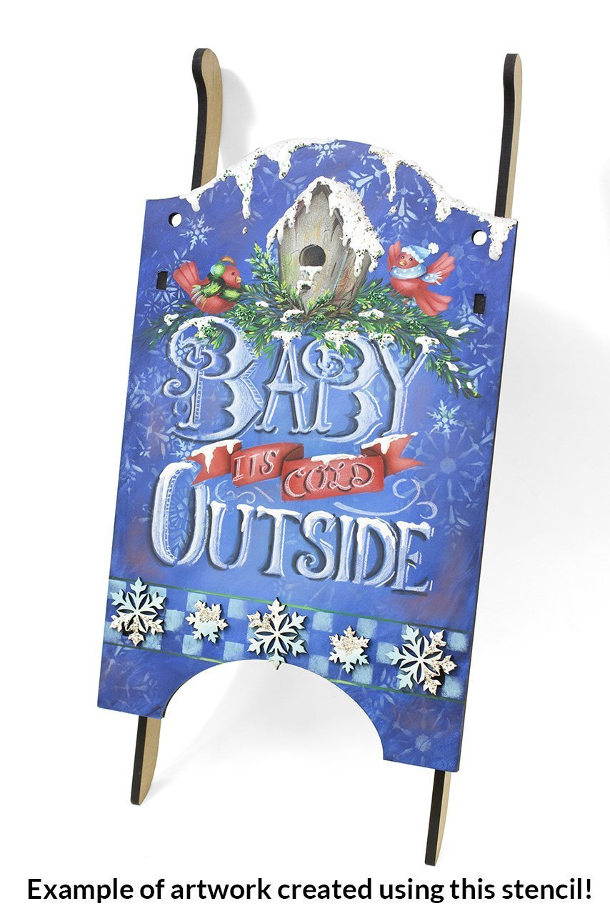 "Baby It's Cold Outside Stencil by StudioR12 |Reusable Mylar Template| Painting, Chalk, Mixed Media, Typography,| Use for Crafting, DIY Christmas Decor wood signs - STCL600 … SELECT SIZE (8"" x 8"")"