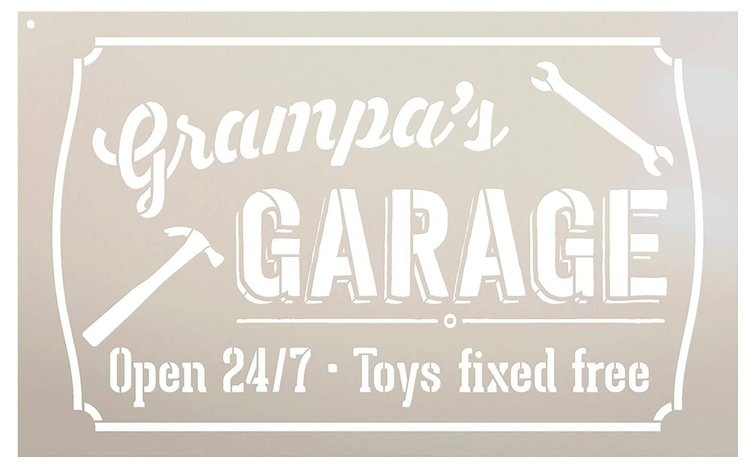 "Grampa's Garage - Open 24/7 Sign Stencil by StudioR12 | Reusable Mylar Template | Use to Paint Wood Signs - Pallets - DIY Grandpa Gift - Select Size (25"" x 16"")"