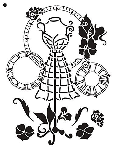 A Stitch in Time Stencil by StudioR12 | Victorian Sewing Fashion Art - Medium 8.5 x 11-inch Reusable Mylar Template | Painting, Chalk, Mixed Media | Use for Crafting, DIY Home Decor - STCL689