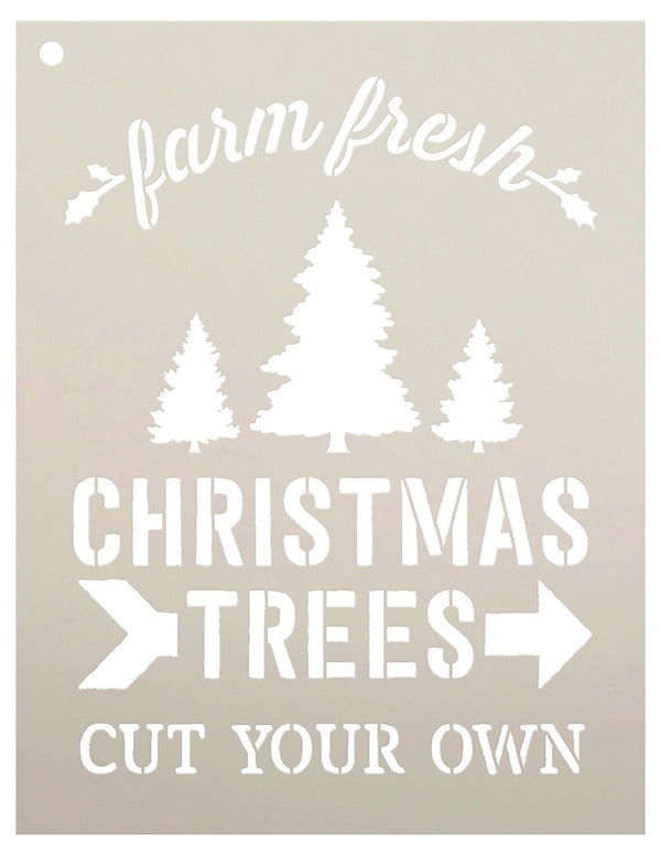 Farm Fresh Christmas Trees by StudioR12 | Winter Farm Word Stencil - Reusable Mylar Template | Painting, Chalk, Mixed Media | Use for Wall Art, DIY Home Decor - CHOOSE SIZE (16