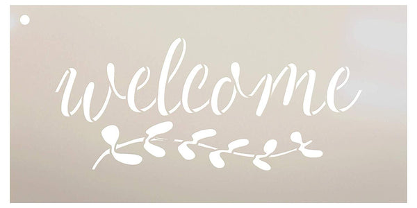 Welcome with Vine Stencil by StudioR12 | Reusable Mylar Template | Use to Paint Wood Signs - Front Porch - Pallets - New Home - DIY Home Decor - Select Size