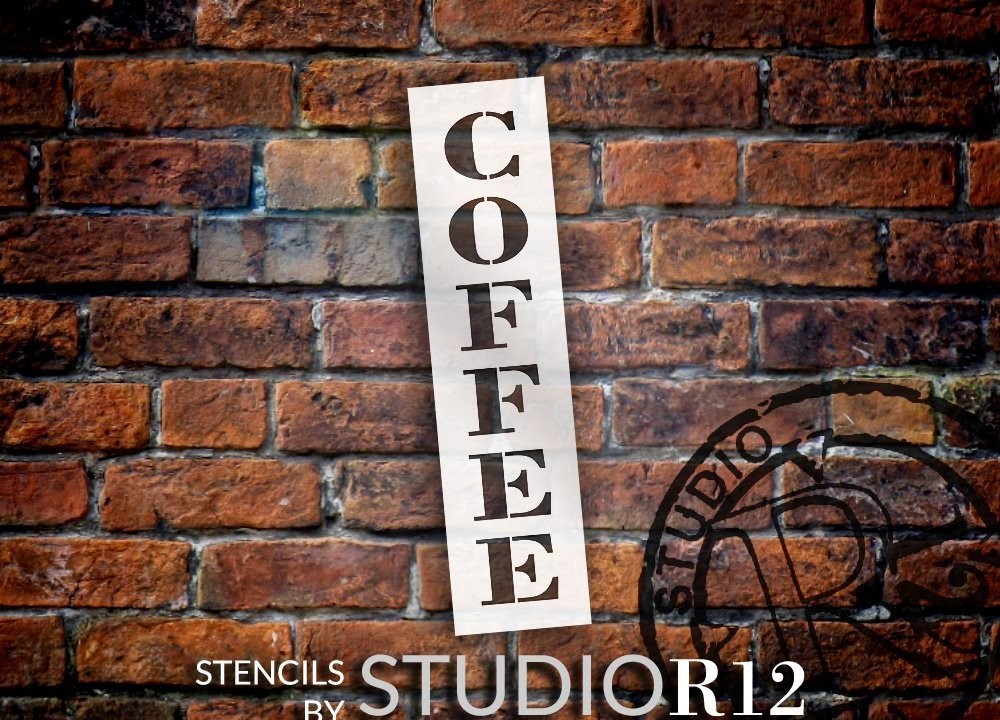 "Coffee - Farmhouse Serif - Vertical - Word Stencil - 4"" x 16"" - STCL1966_2 - by StudioR12"
