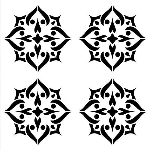 "Mandala - Spades - 4 Tile Pattern Stencil by StudioR12 | Reusable Mylar Template | Use to Paint Wood Signs - Pallets - Pillows - Wall Art - Floor Tile - Select Size (18"" x 18"")"