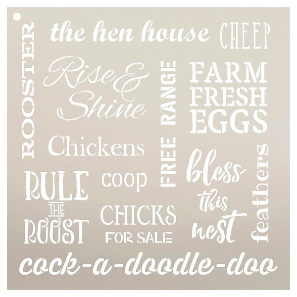 Chicken Words Stencil by StudioR12 | Reusable Mylar Template | Use to Paint Wood Signs - Pallets - Pillows - DIY Country & Farm Decor - Select Size