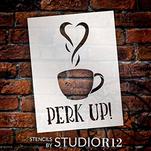 "Perk Up - Coffee Love - Word Art Stencil - 14"" x 20"" - STCL1657_5 - by StudioR12"