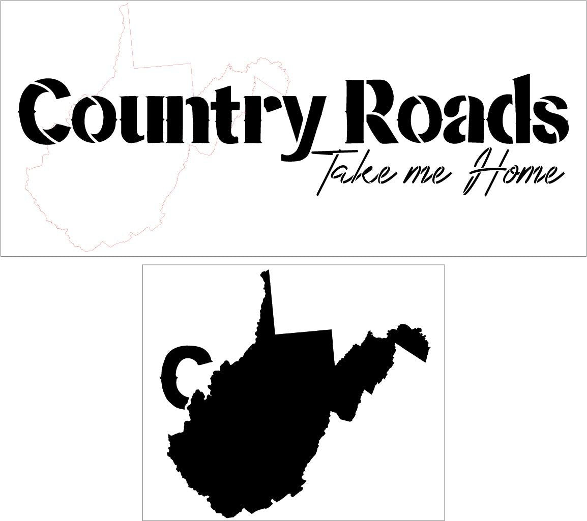 Country Roads Take Me Home - Horizontal Stencil 2 Part by StudioR12 | Reusable Mylar Template | Use to Paint Wood Signs - Pallets - Pillows - DIY Country Decor - Select Size