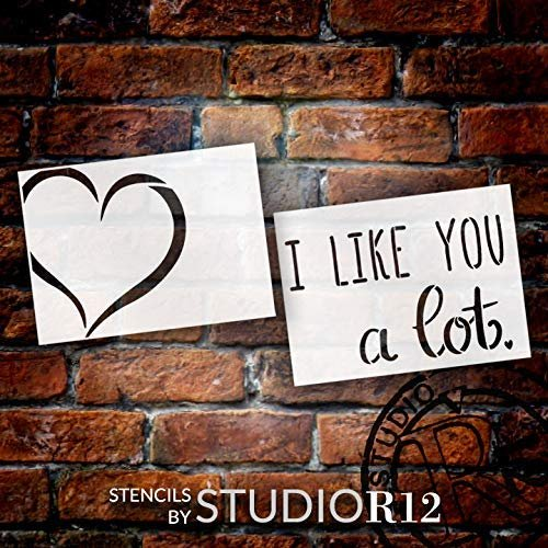 I Like You A Lot 2-Part Stencil with Heart by StudioR12 | DIY Valentine's Day Home Decor | Love Wedding Cursive Word Art | Craft & Paint Wood Signs | Mylar Template | Select Size
