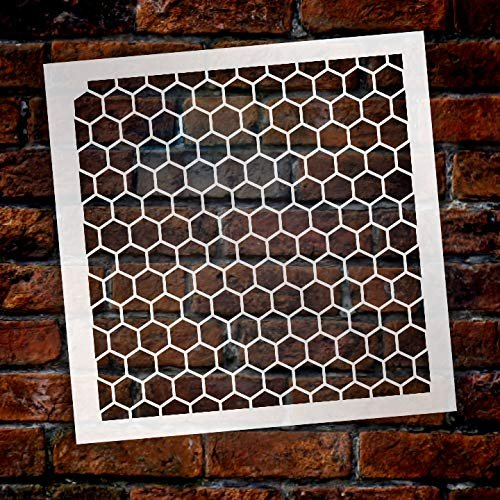 Honeycomb Stencil by StudioR12 | Country Repeating Pattern Stencil- 6 x 6-inch Reusable Mylar Template | Painting, Chalk, Mixed Media | Use for Journalingt, DIY Home Decor - STCL810_1