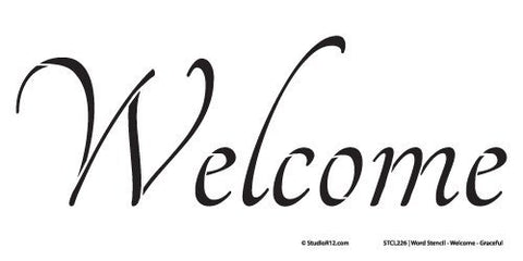 "Welcome Stencil by StudioR12 | Graceful Simple Word Art - Reusable Mylar Template | Painting, Chalk, Mixed Media | Use for Crafting, DIY Home Decor - STCL226 … CHOOSE SIZE (19.5"" x 9"")"