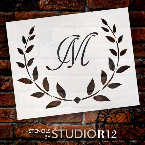 Cursive Monogram Stencil with Laurels & Diamond by StudioR12 | Letter Stencils for DIY Paint Farmhouse Home Decor | Select Size & Letter | STCL5329