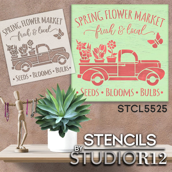 Spring Flower Market Stencil with Vintage Truck by StudioR12 | DIY Floral Farmhouse Home Decor | Craft & Paint Wood Signs | Select Size | STCL5525