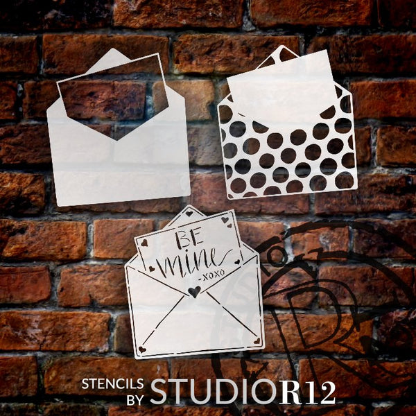 Be Mine 3-Part Envelope Stencil with Polka Dots by StudioR12 | DIY Valentine Love Letter Home Decor | Paint Wood Signs | STCL5543