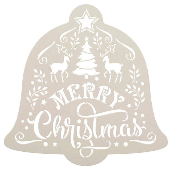 Merry Christmas Bell Stencil by StudioR12 | DIY Holiday Reindeer Star Home Decor Gift | Craft & Paint Wood Sign | Reusable Mylar Template Select Size