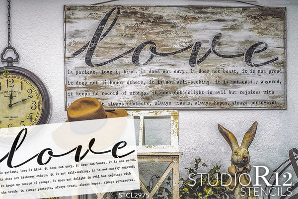 Love is Patient Stencil by StudioR12 | Reusable Mylar Template | Paint Wood Sign | Craft Wedding Faith Home Decor | DIY Simple Rustic Cursive Inspiration | Bible Verse Hope | Select Size