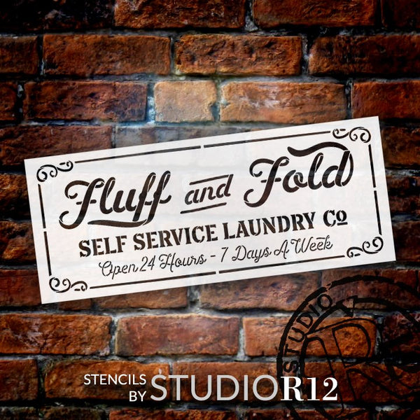 Fluff Fold Self Service Laundry Co Stencil by StudioR12 | DIY Family Home Decor Gift | Craft & Paint Wood Sign | Reusable Mylar Template | Select Size | STCL5156