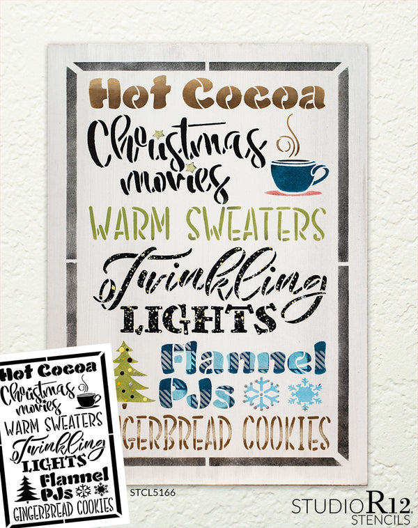Hot Cocoa Christmas Movie Warm Sweater Stencil by StudioR12 | DIY Holiday Home Decor | Craft & Paint Wood Sign | Reusable Mylar Template | Select Size