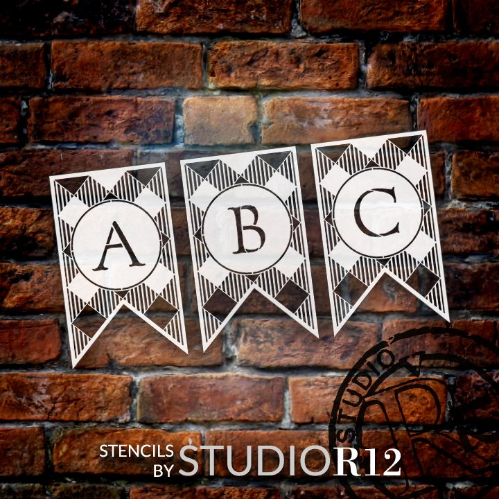 alphabet,   			                 banner,   			                 buffalo plaid,   			                 capital letter,   			                 Country,   			                 Farmhouse,   			                 Home,   			                 Home Decor,   			                 letter,   			                 letters,   			                 letters stencil,   			                 plaid,   			                 stencil,   			                 Stencils,   			                 StudioR12,   			                 StudioR12 Stencil,   			                 Template,