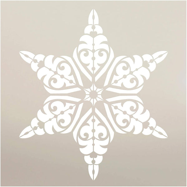 Victorian Snowflake Stencil by StudioR12 | DIY Christmas Pattern Home Decor Gift | Craft & Paint Wood Sign | Reusable Mylar Template | Select Size