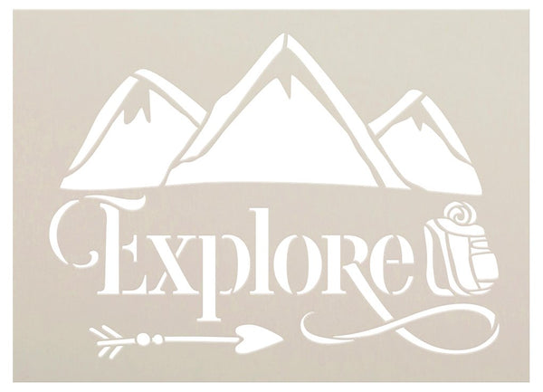 Explore Stencil with Mountain by StudioR12 | DIY Cabin Outdoor Home Decor | Craft & Paint Summer Adventure Wood Sign | Select Size