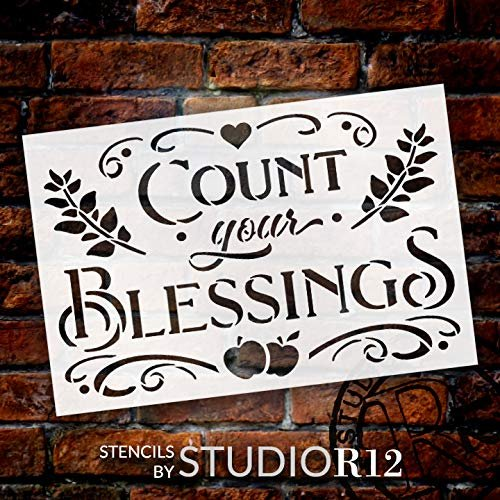Count Your Blessings Stencil with Apples by StudioR12 | DIY Fall & Autumn Farmhouse Home Decor | Craft & Paint Wood Signs | Select Size | STCL3547