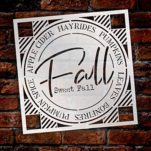 Fall Sweet Fall Buffalo Plaid Stencil by StudioR12 | Painting Wood Sign | Furniture Totes Fabric | Apple Cider Bonfire Pumpkin Pattern | Diagonal Square Pattern | DIY Home Decor - Choose Size | STCL2734