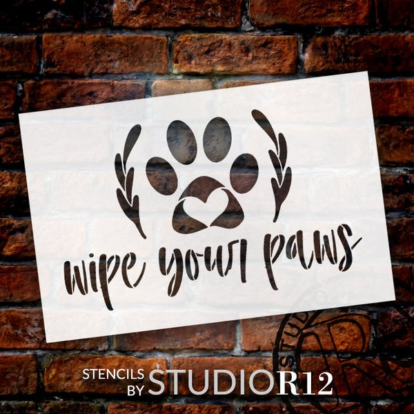 Wipe Your Paws Stencil with Laurels by StudioR12 | Paint DIY Farmhouse Doormat | Pet Lover Cursive Script Word Art | Select Size | STCL5533