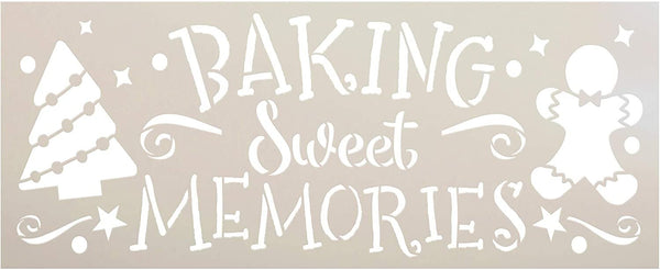 Baking Sweet Memories Stencil by StudioR12 | DIY Christmas Tree Home Decor | Craft & Paint Wood Sign Reusable Mylar Template | Holiday Gingerbread Cookie Gift Select Size