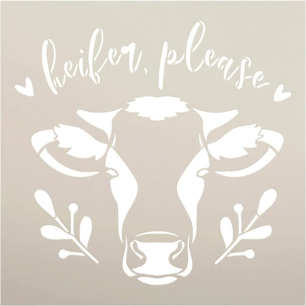 Heifer Please Stencil by StudioR12 | DIY Cow Country Farmhouse Home Decor | Craft & Paint Wood Sign | Reusable Mylar Template | Cursive Script Laurel Heart Gift Select Size | STCL3709