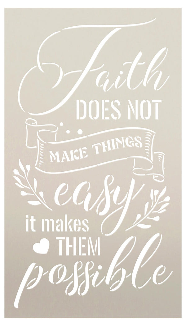 Faith Makes It Possible Stencil with Heart by StudioR12 | DIY Motivational Home Decor | Craft & Paint Wood Signs | Select Size