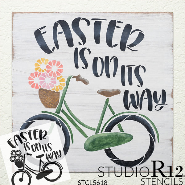 Easter is On Its Way Stencil with Bike by StudioR12 | DIY Spring Floral Home Decor | Craft & Paint Farmhouse Wood Signs | Select Size | STCL5618
