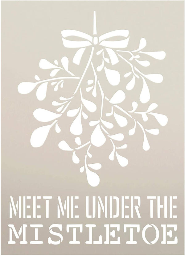 Meet Me Under The Mistletoe Stencil by StudioR12 | DIY Christmas Couple Home Decor | Craft & Paint Wood Sign | Reusable Mylar Template | Holiday Romance Love | Select Size
