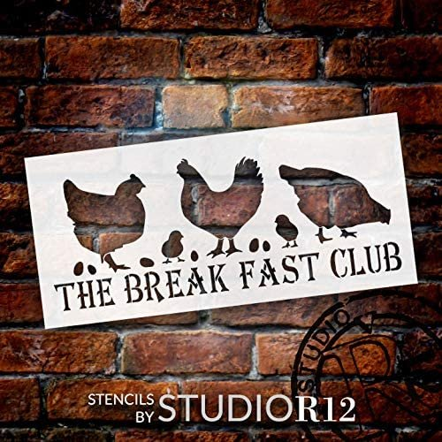 Breakfast Club Chicken Stencil by StudioR12 | DIY Farmhouse Home Decor | Craft & Paint Wood Sign | Reusable Mylar Template | Funny Barn Animal Coop Gift | Select Size | STCL3738