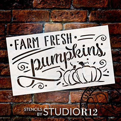 Farm Fresh Pumpkins Stencil by StudioR12 | DIY Farmhouse Fall Script Home Decor | Paint Autumn Harvest Wood Signs | Select Size