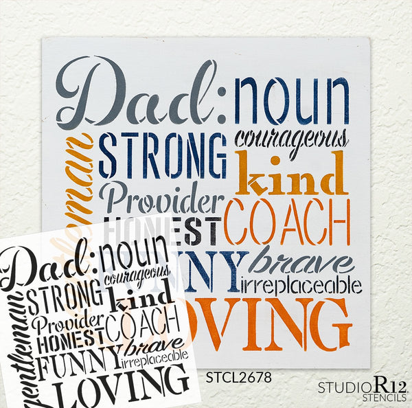 Dad Noun Sign Stencil by StudioR12 | Wood Signs | Word Art Reusable | Father's Day | Painting Chalk Mixed Media Multi-Media | DIY Home - Choose Size | STCL2678