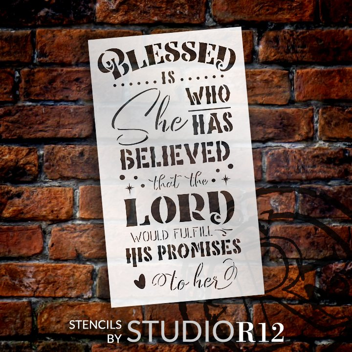 Christian,   			                 Craft,   			                 DIY,   			                 Flexible,   			                 Home decor,   			                 Inspirational,   			                 Mylar,   			                 Paint,   			                 Religious,   			                 Reusable template,   			                 Stencil,   			                 StudioR12,   			                 Washable,   			                 Wood Sign,