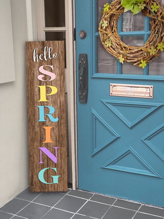 Hello Spring Stencil by StudioR12 | DIY Outdoor Wood Leaner Home Decor | Farmhouse Word Art | Craft & Paint Tall Porch Signs | Select Size | STCL5641