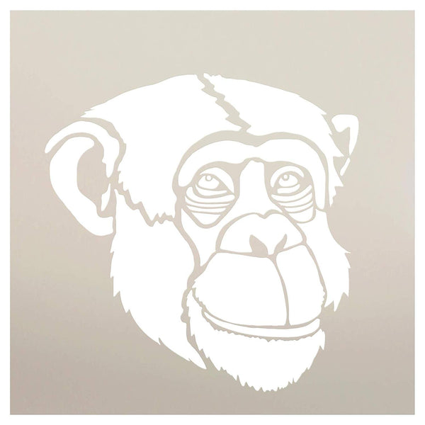 Chimp Portrait Stencil by StudioR12 | Zoo Animals | Nature DIY Kids Family Gift | Craft School Home Decor | Activity Nursery Play Room Wall Decor | Reusable Mylar Template Paint Wood Sign | STCL3031