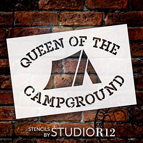 Queen of The Campground Stencil with Tent by StudioR12 | DIY Camping Home Decor | Paint Wood Signs | Reusable Template | Select Size