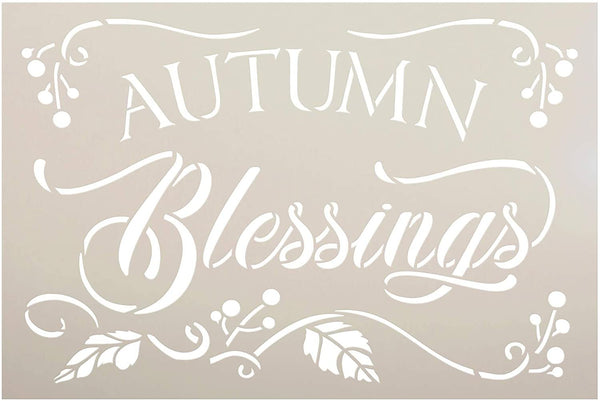 Autumn Blessings Stencil with Leaf Embellishment by StudioR12 | DIY Farmhouse Fall Script Home Decor | Craft & Paint | Select Size | STCL3544