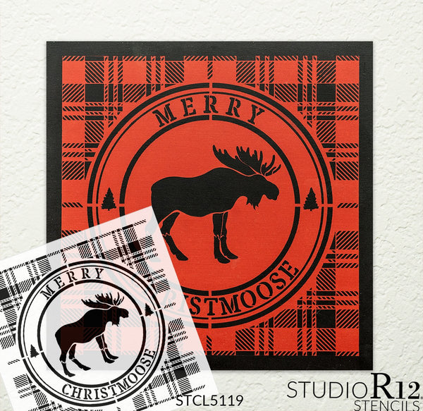 Merry Christmoose Stencil by StudioR12 | DIY Winter Plaid Pine Tree Home Decor Gift | Craft & Paint Wood Sign | Reusable Mylar Template | Select Size | STCL5119