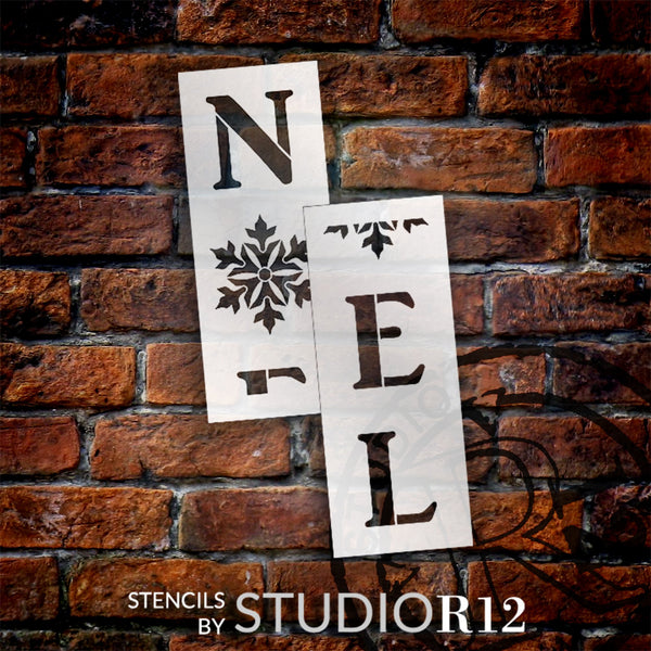 Noel Tall Porch Stencil with Snowflakes by StudioR12 | 2 Piece | DIY Large Vertical Christmas Holiday Home Decor | Craft & Paint Winter Wood Leaner Signs | Reusable Mylar Template | Size 4ft | STCL2016
