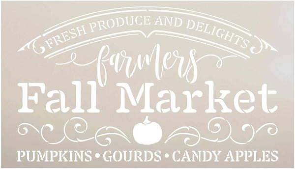 Farmers Fall Market Stencil by StudioR12 | DIY Autumn Farmhouse Home Decor | Craft & Paint Wood Sign Reusable Mylar Template | Pumpkin Apple Cursive Script Gift Select Size