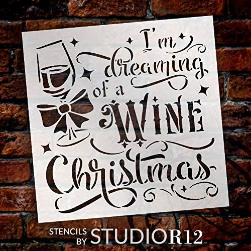 Wine Christmas Stencil by StudioR12 | DIY Funny Winter Holiday Home Decor | Craft & Paint Wood Sign Reusable Mylar Template | Glass Present Bow Cursive Script Gift Select Size | STCL3637