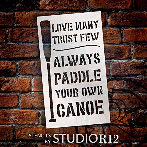 Paddle Your Own Canoe Stencil with Oar by StudioR12 | DIY Lake & River Cabin Decor | Craft & Paint | Reusable Template | Select Size | STCL3389