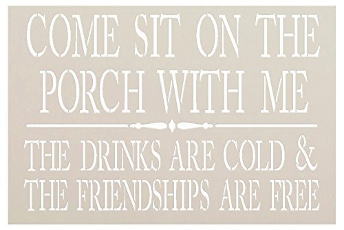 Come Sit On The Porch with Me Stencil by StudioR12 | Reusable Mylar Template | Use to Paint Wood Signs - Front Door - Entry - Porch - DIY Summer Decor - Select Size | STCL1379