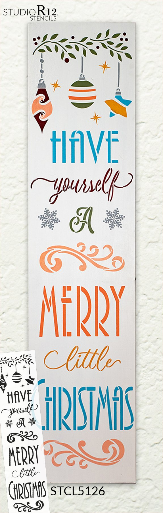 Merry Christmas Stencil RE-USABLE 9 x 7.5 inch