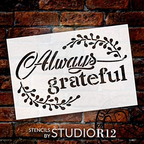 Always Grateful Stencil with Laurels by StudioR12 | DIY Rustic Fall Script Home Decor | Craft & Paint Autumn Wood Signs | Select Size | STCL3542